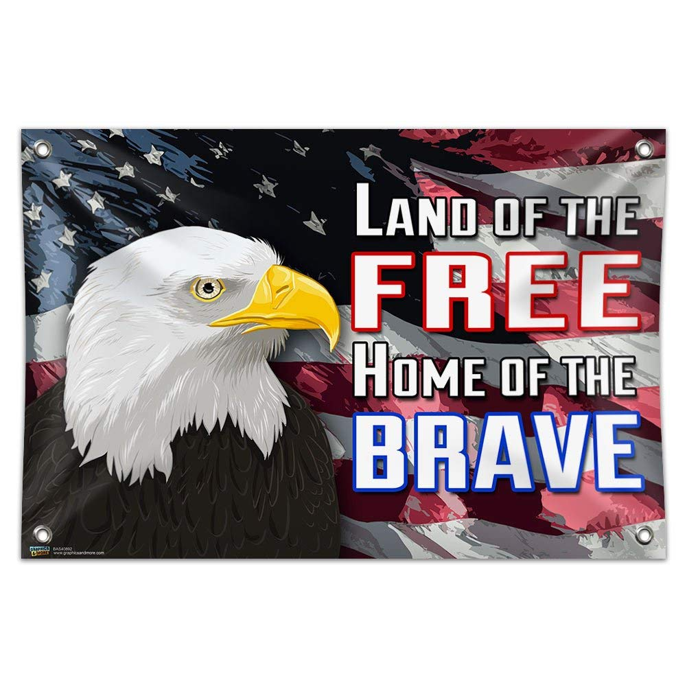 "Land of the Free Home of the Brave - America USA United States Eagle Flag Patriotic 33"" (84cm) x 22"" (56cm) Mini Vinyl Flag Banner Wall Sign"