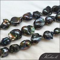 Wholesale 15-18mm black big cultured baroque pearls
