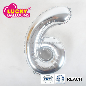 16inch Mini Silver Foil Helium Maylar Number 6 Balloon For Happy Birthday Decorations