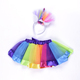 Multicolor Rainbow Color Girls Pettiskirts Princess Tulle Girls Tutu Skirt With Unicorn Headband