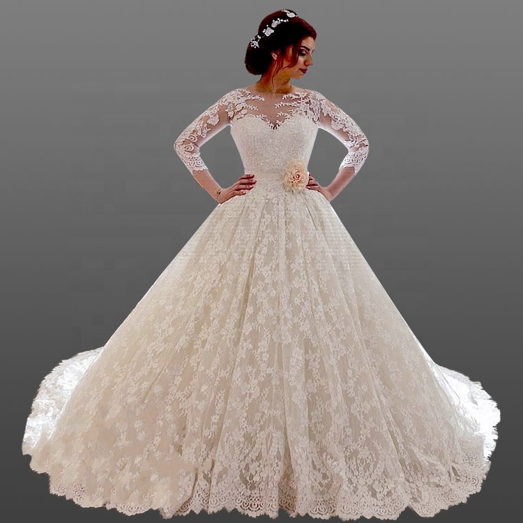 Romance Long Sleeve Wedding Dresses Sash Lace Ball Gown Wedding