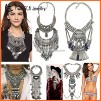 Vintage Exaggerated Boho Ethnic Jewelry Antique Silver Statement Necklace 26 items In Stock