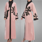 Muslim chiffon cardigan islamic national style retro open ababa with fashion printing dress for women clothing