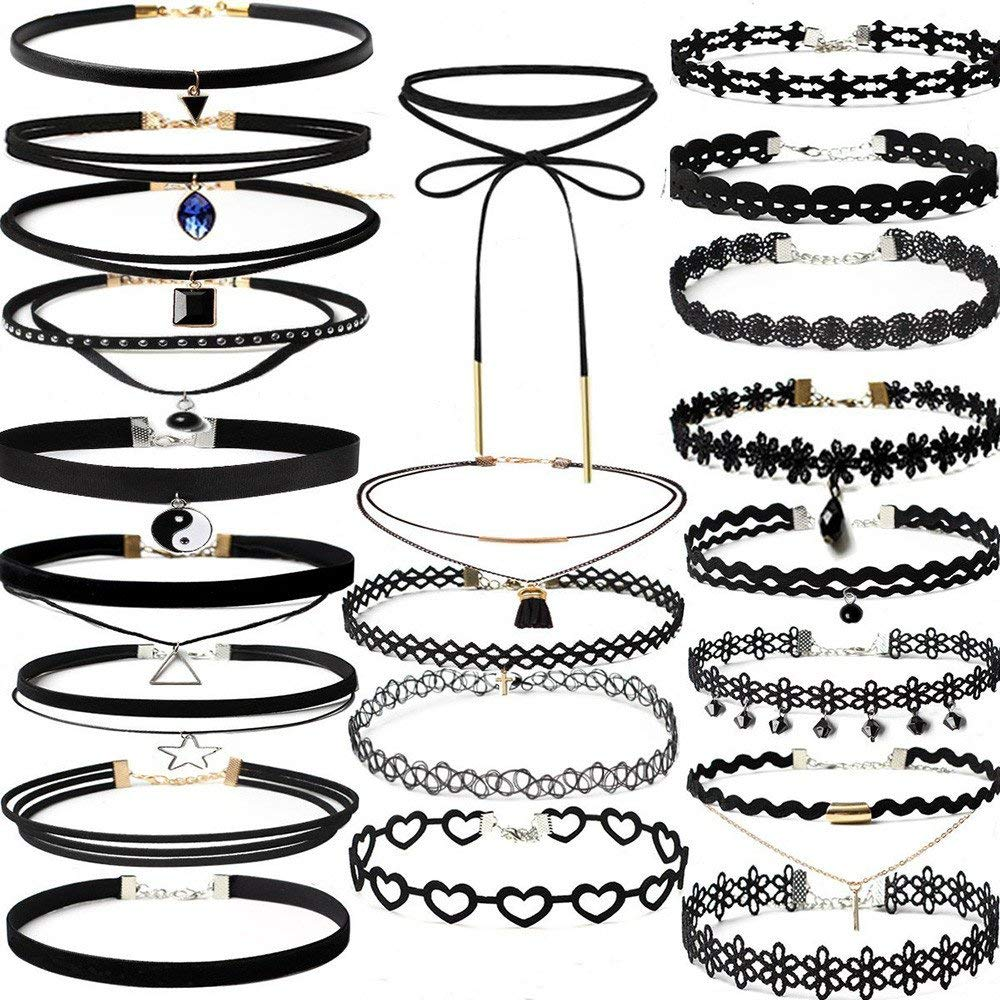 Sinohomie-Choker Necklace Set,20PCS Womens Choker Necklaces Black Lace Velvet Charm Stretch Gothic Tattoo Necklace with Pendant Set for Women Girls