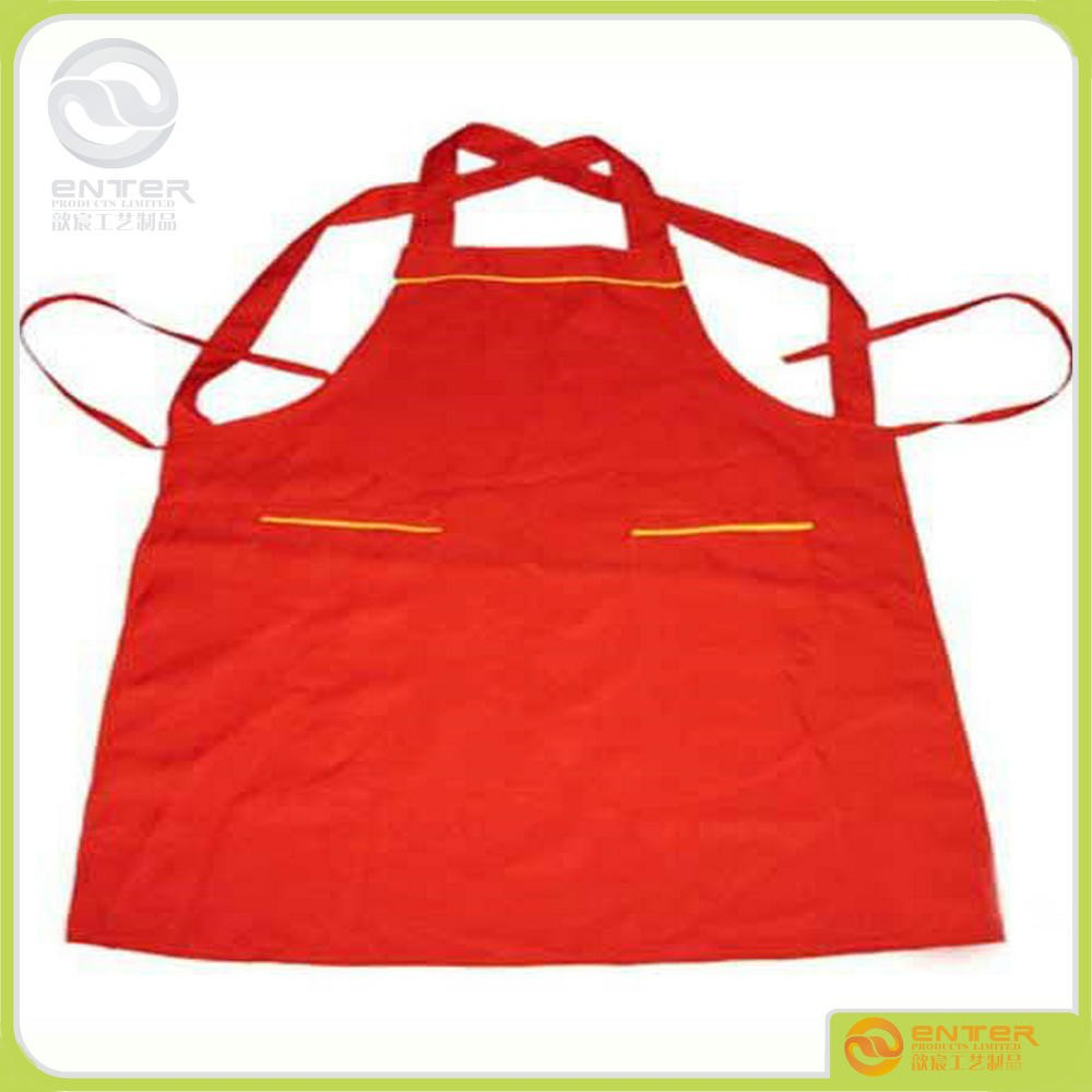 high quality natural cotton printing logo waterproof aprons red ketchen apron