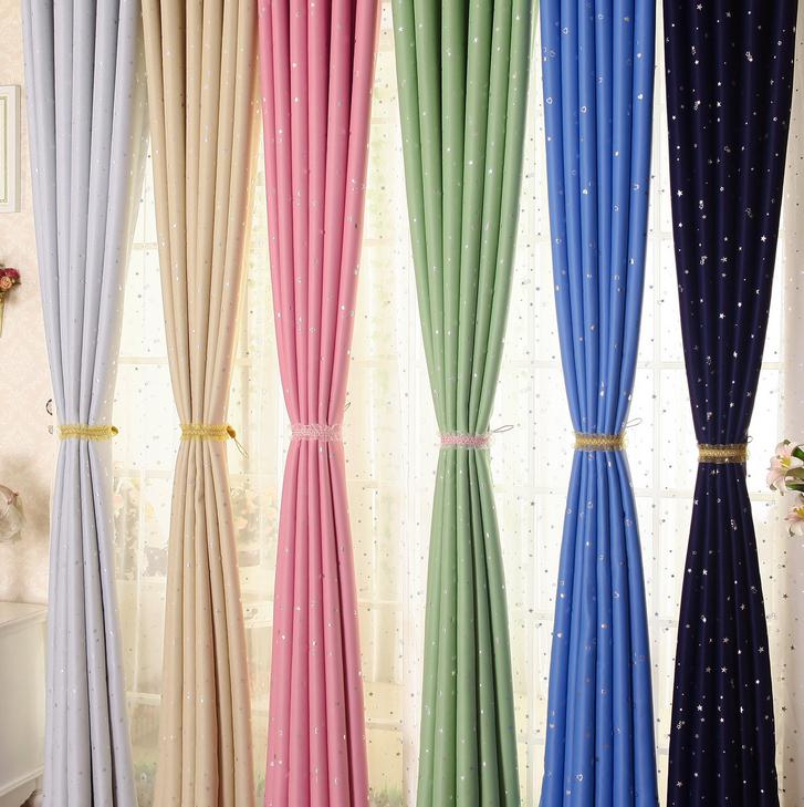 100% Polyester silver plating stars cheap European style hotel continuous blackout window curtains fabric