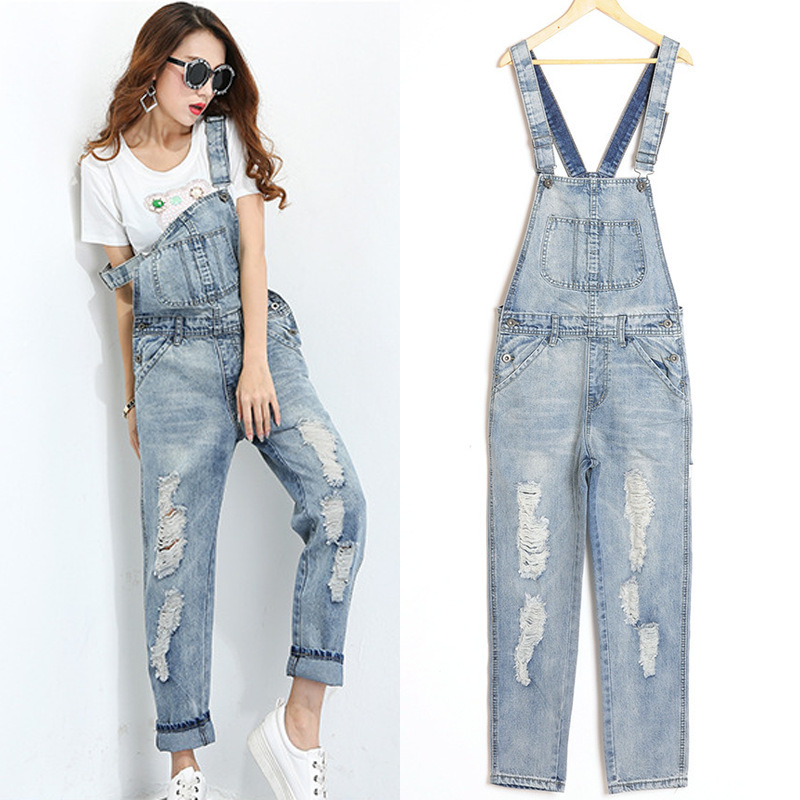187332c56a95 Get Quotations · loose silver distressed denim jumpsuit women overall jeans  long pants light blue women denim bib overalls