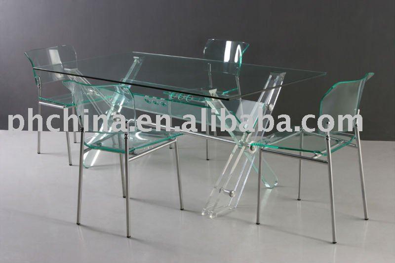 Luxus acryl esstisch mit glasstop kristall transparent