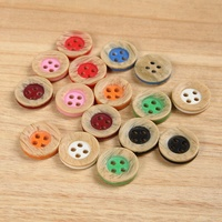 fancy four hole round shape colored sewing imitate wood resin shirt button