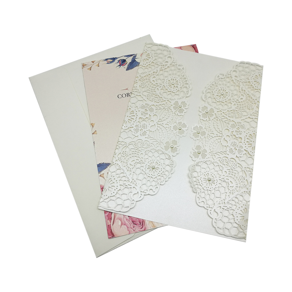 2019 new wedding card invitation luxury design stick pearls