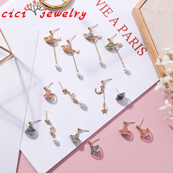 Creative Forest Department Dream Saturn Color Planet Earring Sweet Girl Moon Star Pearl Earrings
