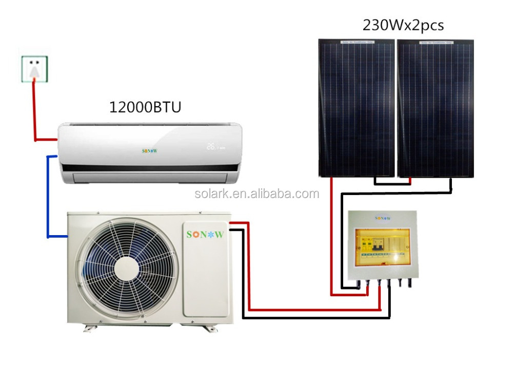 Solar Ac 12000btu 24000btu Wall Mounted Hybrid Solar Air
