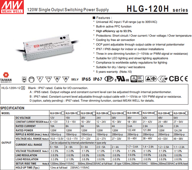 Mw Power Supply Price Good Hlg-120h-54a Computer Smps Price - Buy ...