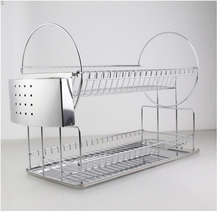 Cuisine Chrome fil Plat À Vaisselle avec plateau en acier inoxydable (AWK106)