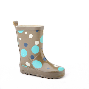 street hip style hunting and farm use transparent brown upper cute polka printed kids custom rubber boots with steel shank