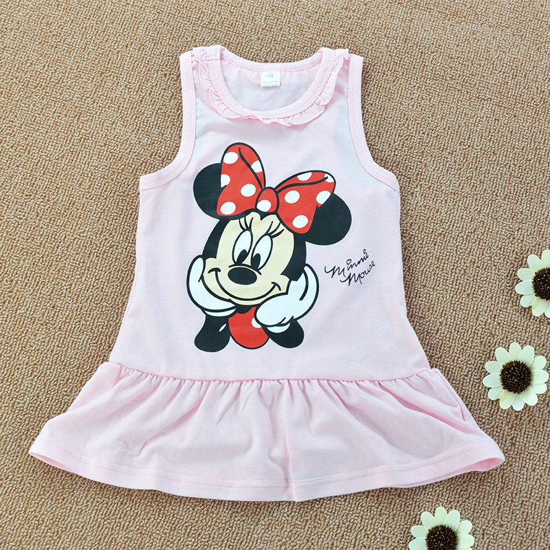 GD003 0-6years summer fashion baby cotton Mickey pattern girl dress 2colors in stock