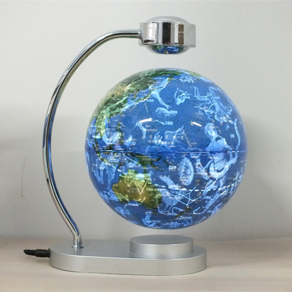 8 Inch Floating Globe, Magnetic Levitation Earth Globe World Map with LED Lights 360 Degree Rotating for Learning Education