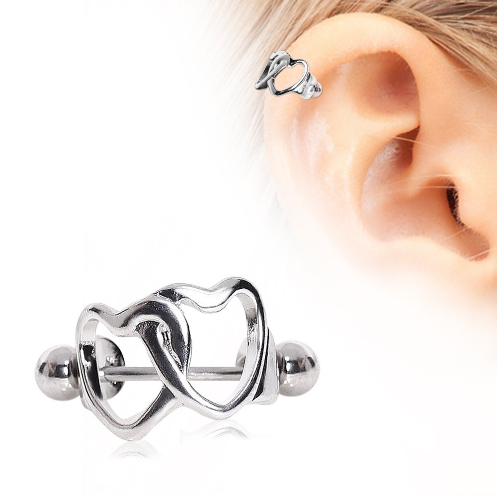 25c0a57798f4 Get Quotations · Interlocked Hearts Cartilage Cuff 316L Surgical Steel