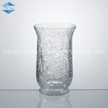 Clear Cracked Glass Hurricane Vases Buy Clear Glass Hurricane