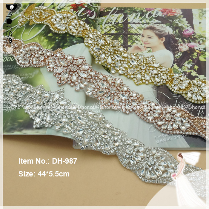 Dhorse DH-987 chic design bling fatto a mano di patch di strass applique di cristallo per abito da sposa
