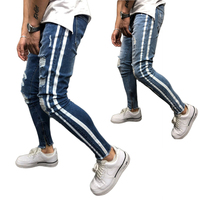 Foreign trade and American hot - selling fashion - breaking elastic jeans slim men ' s pants Skinny biker denim hole trousers
