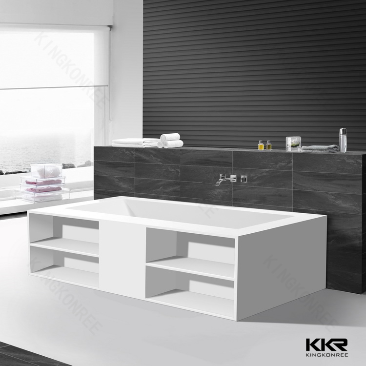 Solid surface bathtub wall surrounds modern bath tub