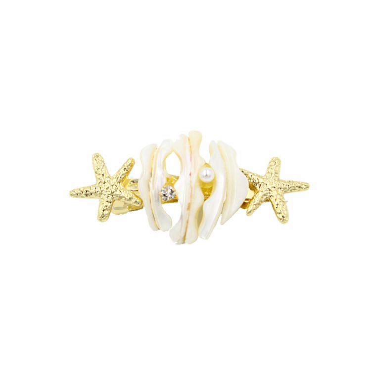 A-1202 Hallowmas Hair Jewelry Finest Gold Fishstar Shell Piercing Precious Stone Pave Pearl Barrette Hair Clips For Women