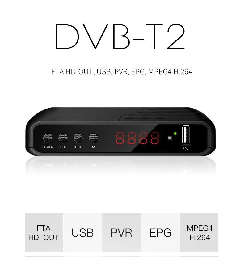 Latest dvb t2 Set Top Box TV Receiver Russia DVB-T2 receiver hottest dvb-t2 transmitter