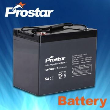 12V75AH Gel Deep-cycle Battery for Solar Systems/UPS/Wind Turbine/Marine/Wheelchairs/Roberts
