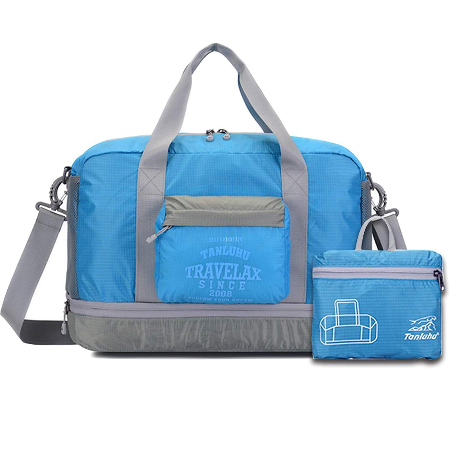 Foldable Travel Duffel Bag Doubmall Lightweight Waterproof Storage Carry Luggage Bag for Sports Gym Vacation
