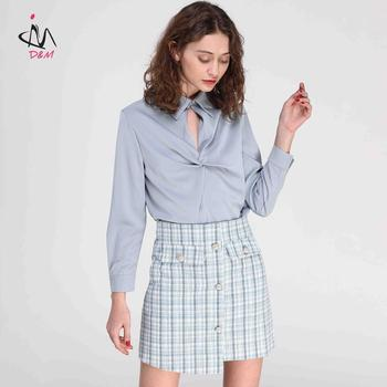 2fd81798d4060 Hot Sales Latest Skirt Design Pictures Pearl clasp Pockets Blue Plaid Mini  Skirt High Waisted Skirt a Line
