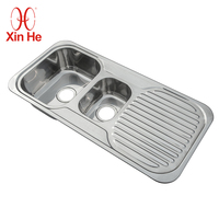 Wholesale Sales Double Bowl Stainless Steel Kitchen Sink With Drainboard