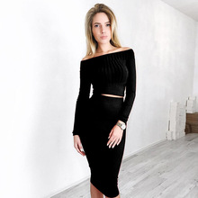 Z80869E 2017 new arrival knitted off shoulder long sleeve blouses and skirt sets for women