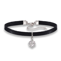 New arrival black leather braided zircon choker women necklace