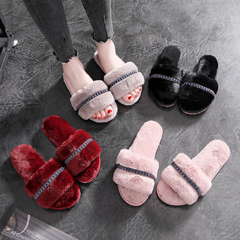 Fashion Rhinestone Women Indoor Slippers Warm Fur Home Floor Bedroom Shoes Soft Sole Non Slip Female Slippers