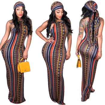 S3006 lady fashion striped long maxi boho bohemian summer dress women