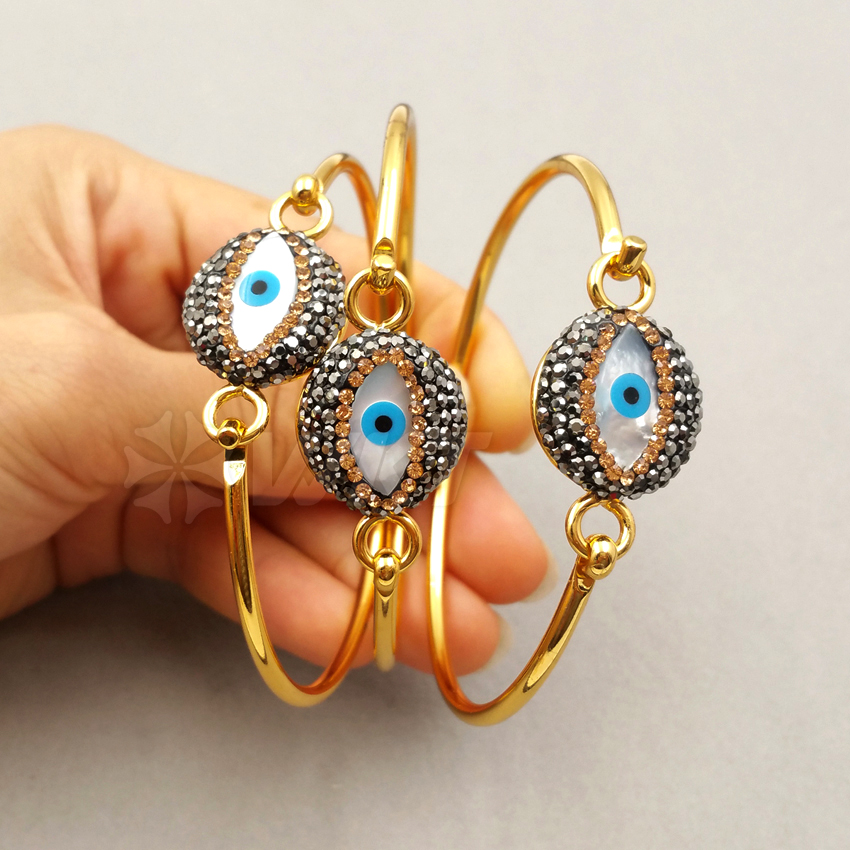 RB024 WKT Wholesale New Fashion Real Gold Plated Bangle Evil Eye Shape Rhinestone Pave Bangle