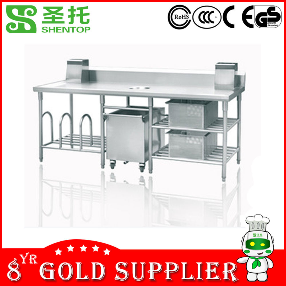 Shentop 2015 Newest Kitchen /Hotel/Restaurant STJDNPCT-01 Multifunctional industrial stainless steel kitchen work table