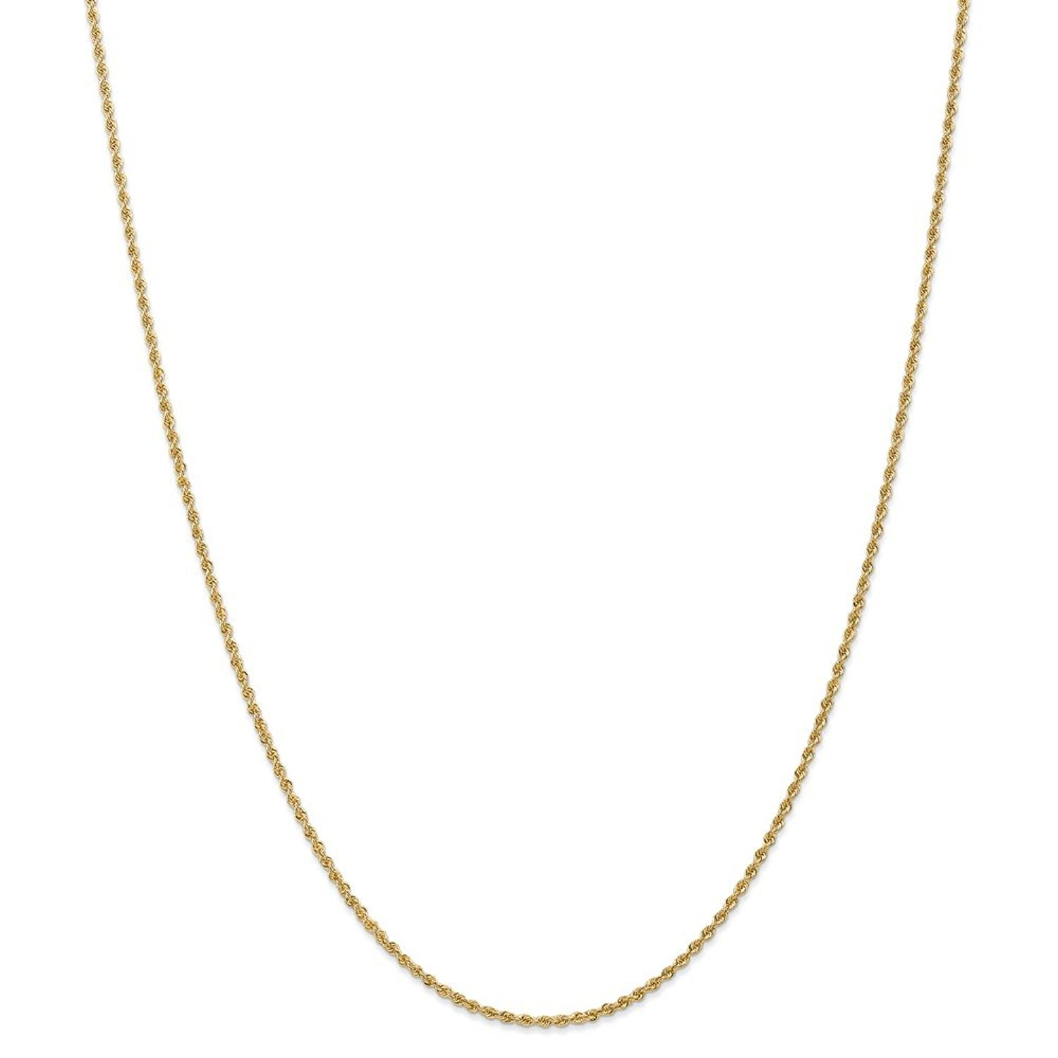 14k Yellow Gold Lobster Claw Closure 1.0mm Solid Rope Chain Bracelet - Length Options: 7 9