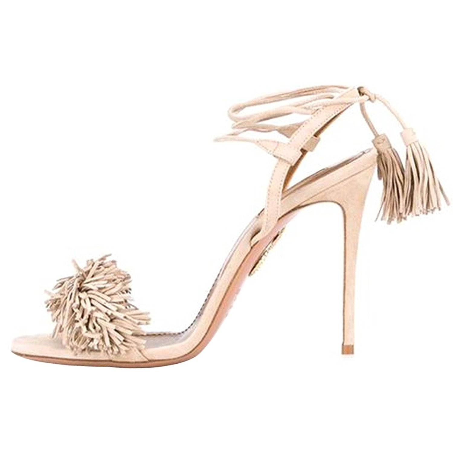 517cacd6af71ff Get Quotations · Comfity Heeled Sandals For Women Women s Tassels Sandals  Lace Up Slingback Shoes High Heel Dress Sandals