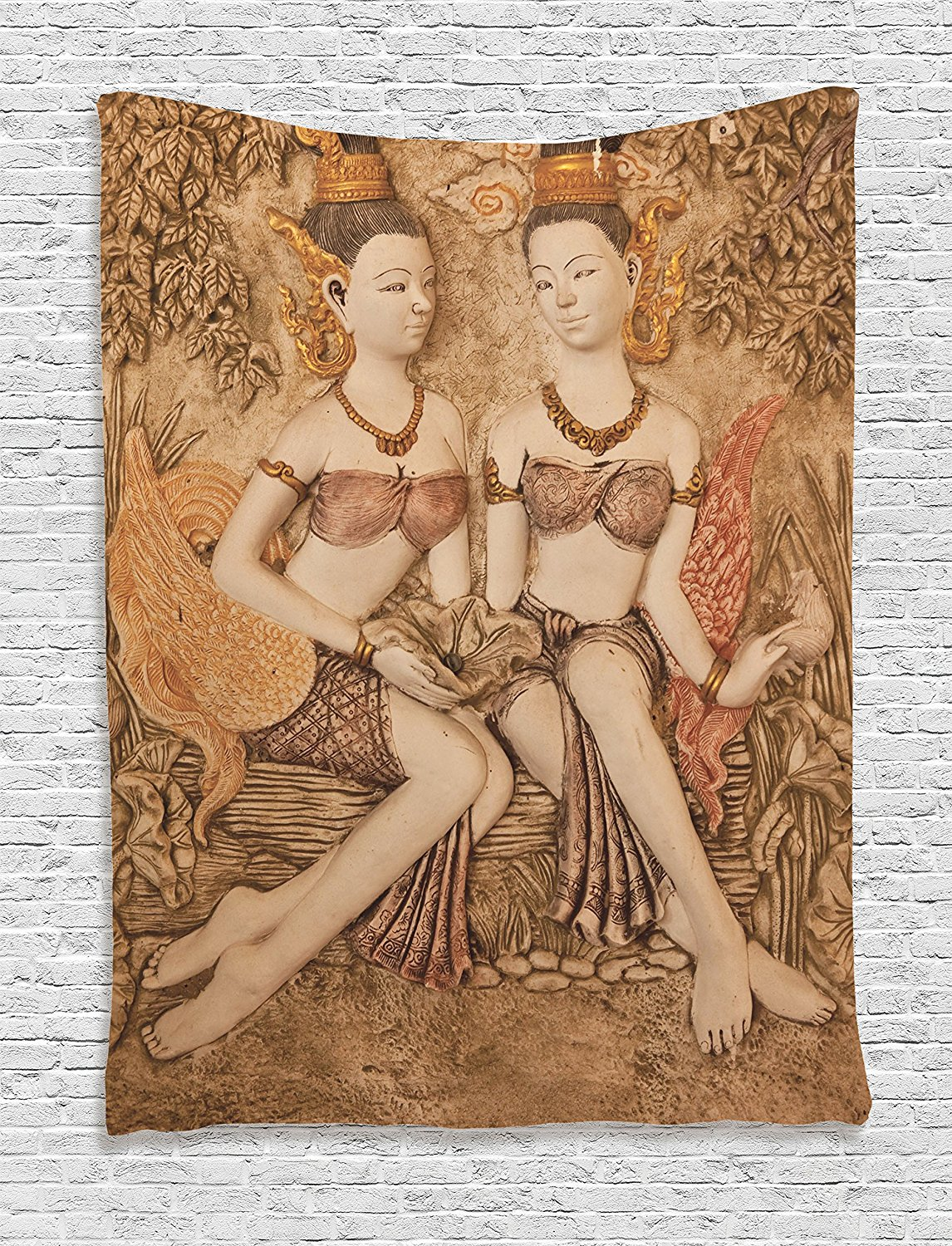 Ambesonne Sculptures Decor Collection, Native Thai Style Molding Art Asian Traditional Attire Temple Culture Image, Bedroom Living Room Dorm Wall Hanging Tapestry, Bright Gold