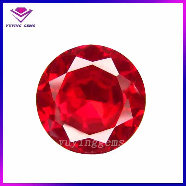 Round Brilliant cut lab created ruby burma