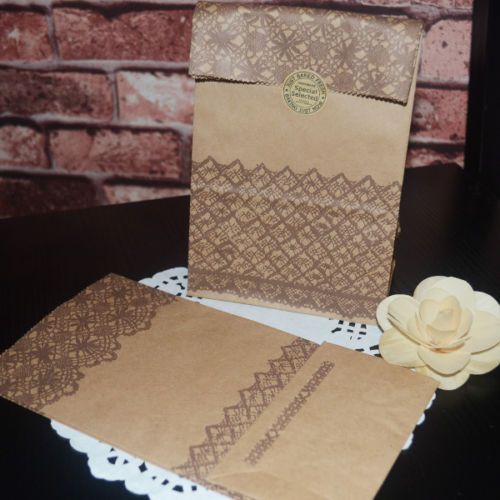 White and Brown Lace Print Kraft Paper Favors Vintage Gift Pouch Bag