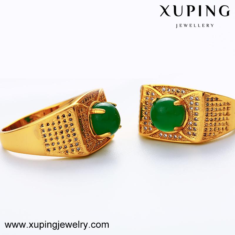 Xuping jewelry New Style gold finger ring, gold plated luxury malaysian jade ring with zirconia