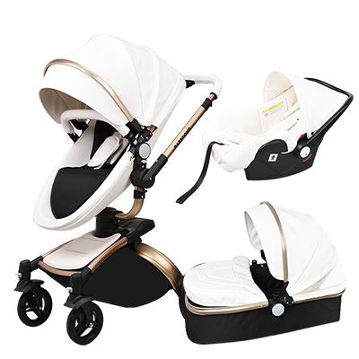 Alibaba.com / Babyfond 3 in 1 baby stroller with the baby carrier baby pram high quality aluminium alloy frame leather material free gifts
