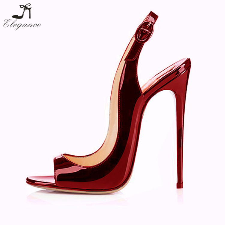 New Design Ladies Summer 2018 Burgundy Color Patent Fetish High Heels Buckle Strap Peep Toe Party Wear Weeding Sandals
