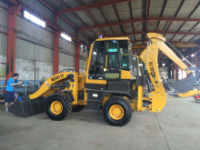1600kg backhoe type wheel loader with front end loader and back digger