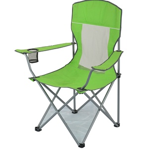 CAMP Oversize Camping Chair Heavy Duty Support 350 LBS Folding Steel Frame Mesh Back Collapsible Padded Arm Chair with Cup Holde