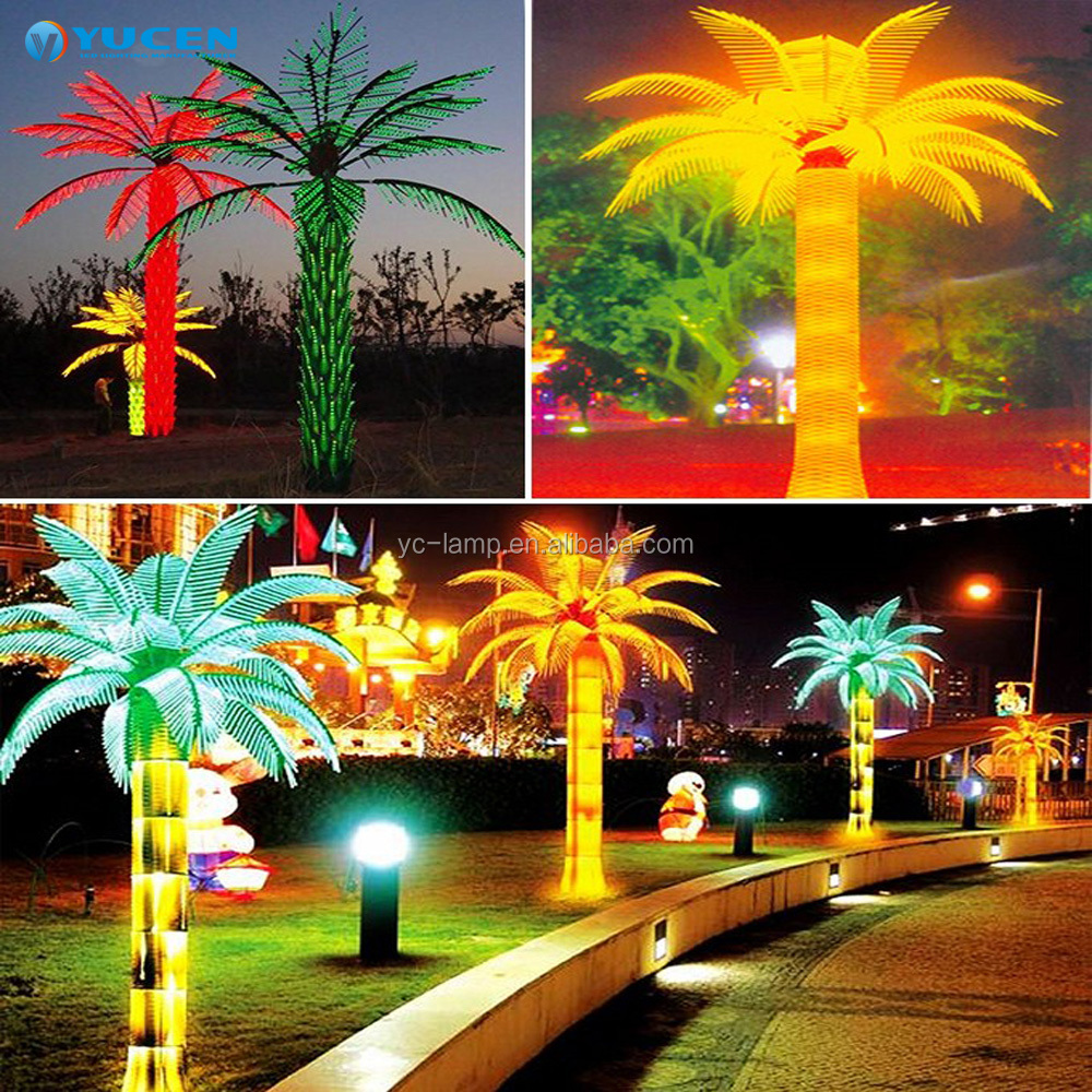 Wholesale outdoor waterproof led coconut palm tree light for city street multicolor tree lamp