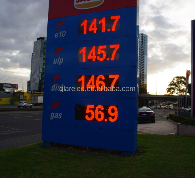 custom to standard sizing for internation brand gas station price sign 7 segmentos gasolinera